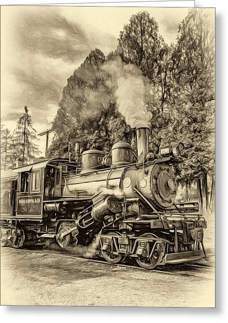 Usa Digital Greeting Cards - West Virginia Steam Engine - Paint sepia Greeting Card by Steve Harrington