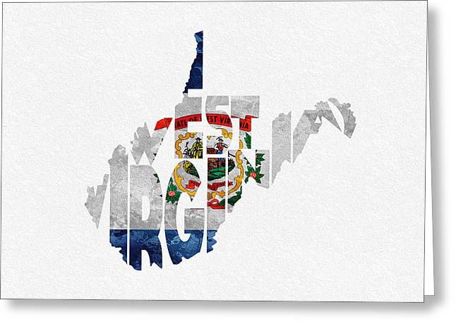 Urban Pyrography Greeting Cards - West Virginia Typographic Map Flag Greeting Card by Ayse Deniz