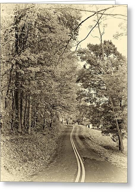 Back Road Digital Greeting Cards - West Virginia Wandering sepia Greeting Card by Steve Harrington