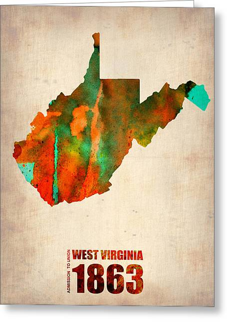 Homes Digital Art Greeting Cards - West Virginia Watercolor Map Greeting Card by Naxart Studio