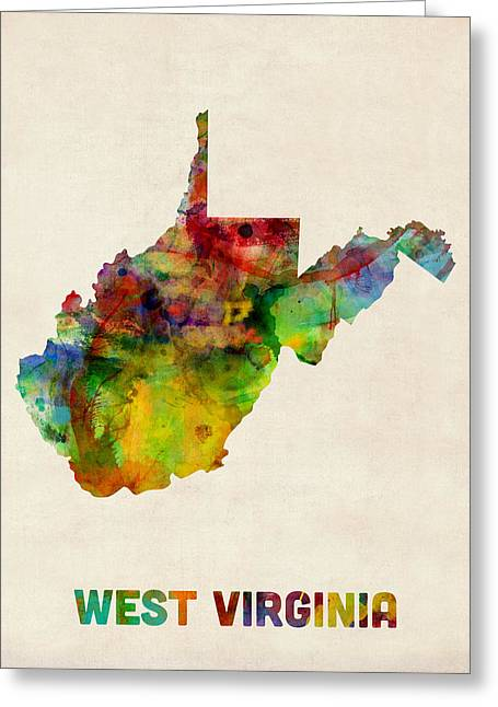West Virginia Greeting Cards - West Virginia Watercolor Map Greeting Card by Michael Tompsett
