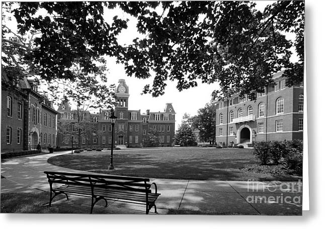 Historic Places Greeting Cards - West Viriginia University Woodburn Circle Greeting Card by University Icons