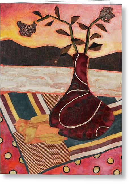 Geometry In Orange Greeting Cards - West Wind Greeting Card by Diane Fine