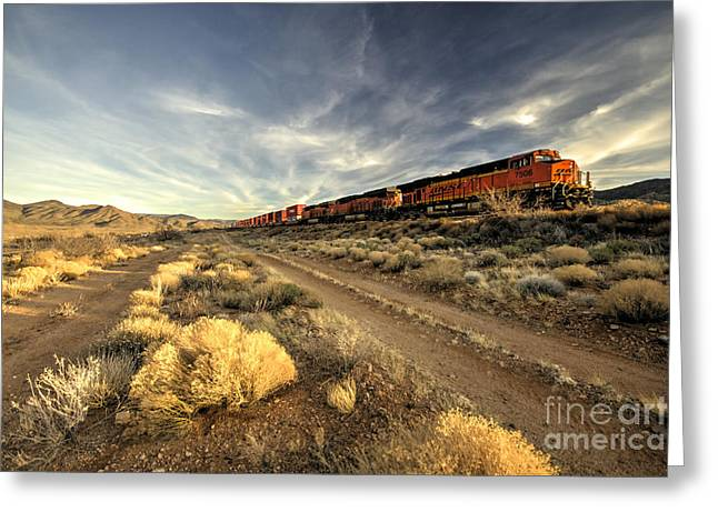 Freight Train Greeting Cards - Westbound Freight  Greeting Card by Rob Hawkins