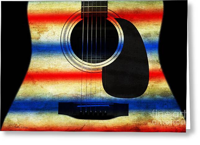 Red Hourglass Greeting Cards - Western Abstract Guitar 1 Greeting Card by Andee Design