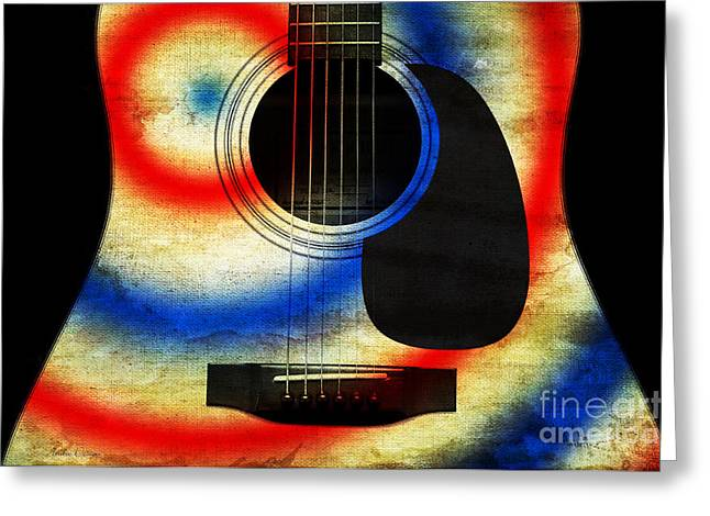 Red Hourglass Greeting Cards - Western Abstract Guitar 2 Greeting Card by Andee Design