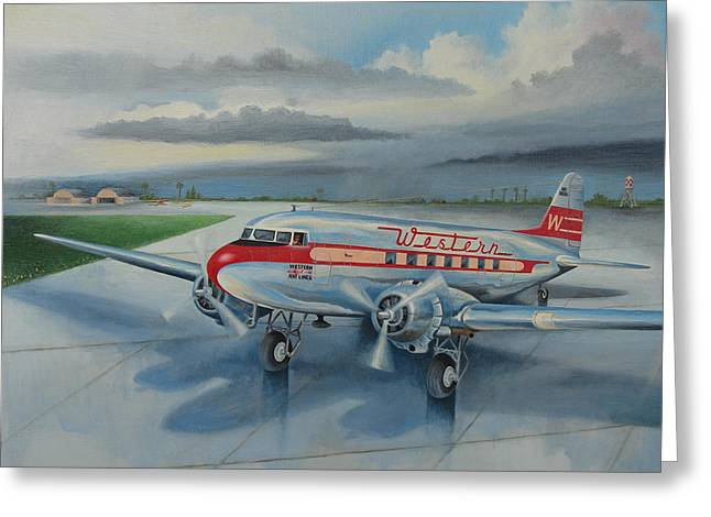 1930s Paintings Greeting Cards - Western Airlines DC-3 Greeting Card by Stuart Swartz