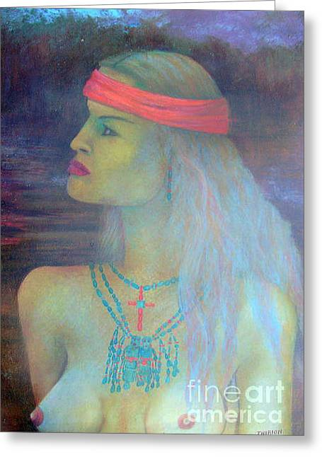 Taos Pastels Greeting Cards - Western Art Taos New Mexico Greeting Card by Alberto Thirion