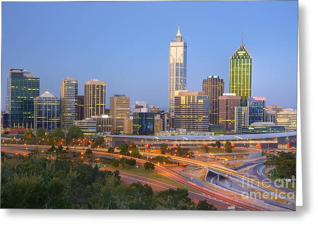 Western Australia Greeting Cards - Western Australia Perth Skyline at Twilight Greeting Card by Colin and Linda McKie