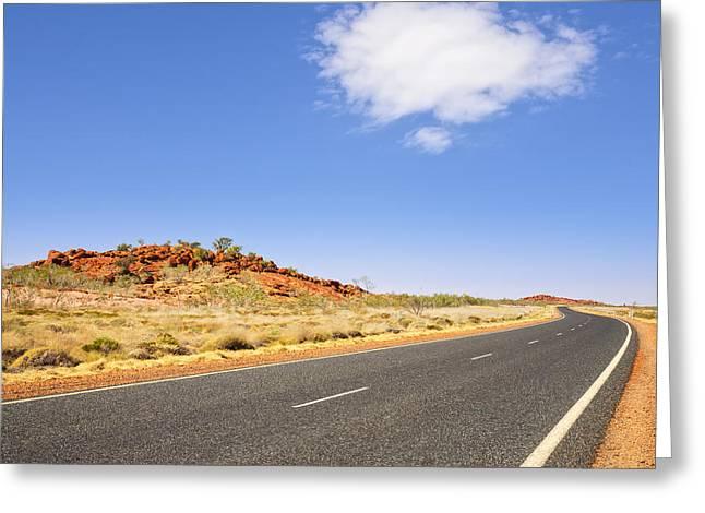 Western Australia Greeting Cards - Western Australia Pilbara Region Never Ending Long Curving Road  Greeting Card by Colin and Linda McKie