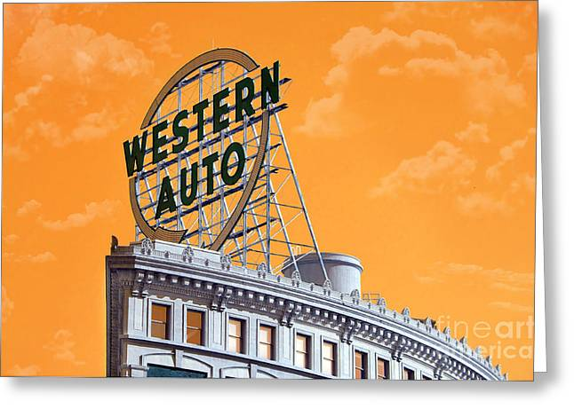 Design And Photography. Greeting Cards - Western Auto Sign Artistic Sky Greeting Card by Andee Design