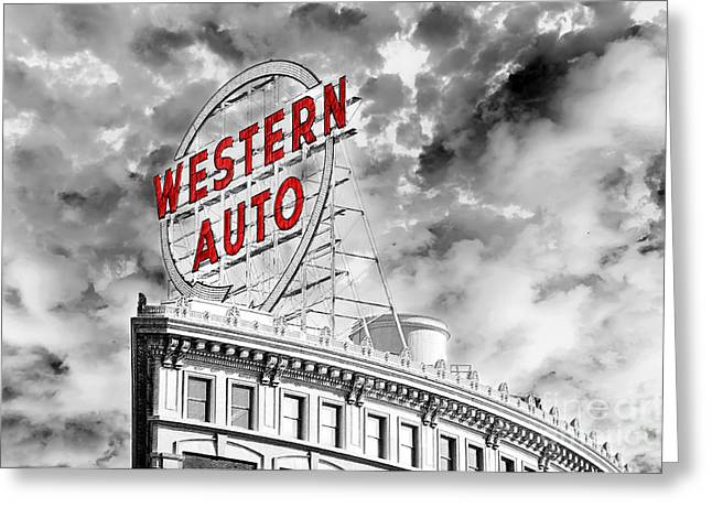 Design And Photography. Greeting Cards - Western Auto Sign Downtown Kansas City B W Greeting Card by Andee Design