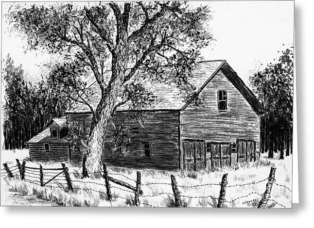 Old Barn Drawing Greeting Cards - Western Barn Greeting Card by Judy Sprague