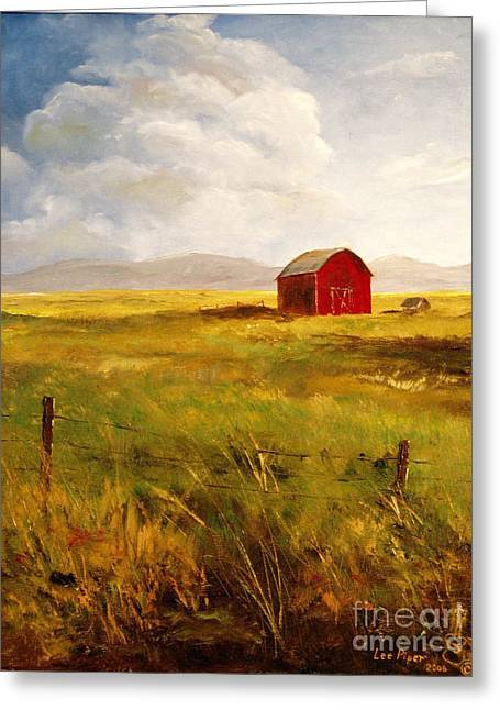 Lee Piper Art Greeting Cards - Western Barn Greeting Card by Lee Piper