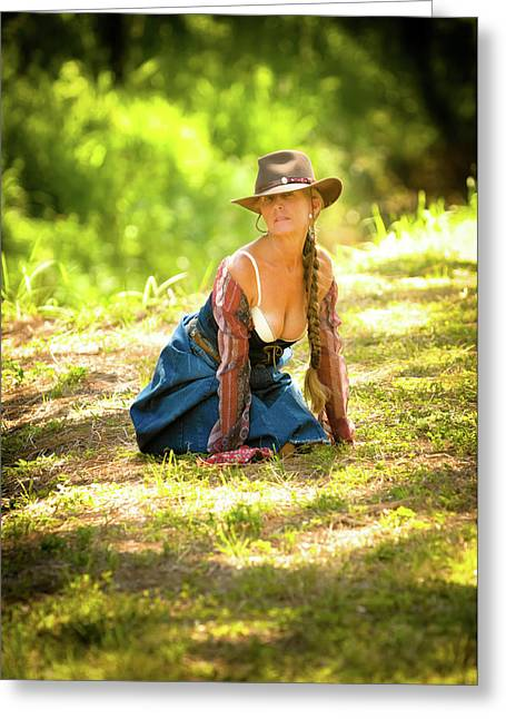 Cowgirl Skirt Greeting Cards - Western Free Spirit  Greeting Card by N Taylor