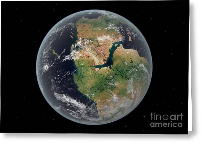Pangea Greeting Cards - Western Hemisphere Of The Earth Greeting Card by Walter Myers