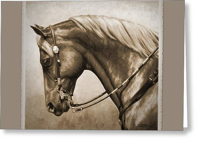 Quarter Horses Greeting Cards - Western Horse Aged Photo FX Sepia Pillow Greeting Card by Crista Forest