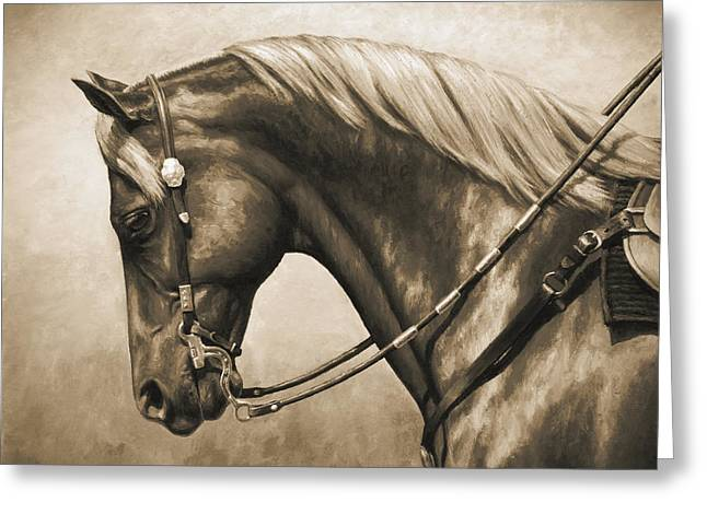 Saddle Greeting Cards - Western Horse Painting In Sepia Greeting Card by Crista Forest