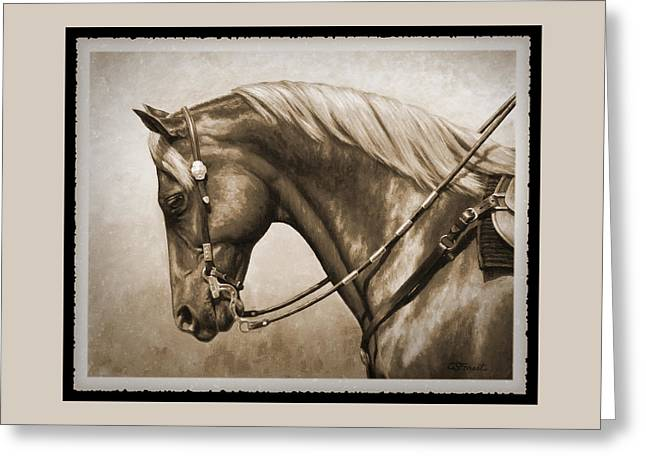 Quarter Horses Paintings Greeting Cards - Western Horse Old Photo FX Greeting Card by Crista Forest