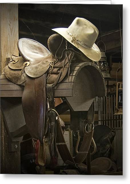 Equestrian Prints Photographs Greeting Cards - Western Horse Saddle and Cowboy Hat Greeting Card by Randall Nyhof