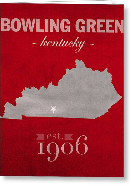 Town Mixed Media Greeting Cards - Western Kentucky University Hilltoppers Bowling Green KY College Town State Map Poster Series No 125 Greeting Card by Design Turnpike