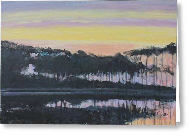 Western Lake Sunrise Greeting Card by Candace Lovely