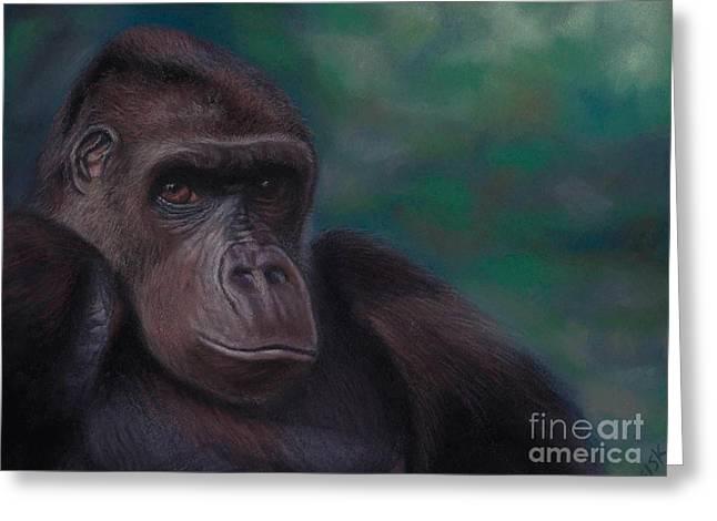 Chimpanzee Pastels Greeting Cards - Western Lowland Gorilla #1 Greeting Card by Rebekah Sisk