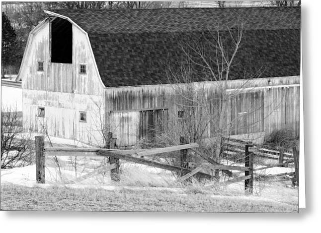 Barn Covered In Snow Greeting Cards - Western New York Farm 1 in black and white Greeting Card by Tracy Winter
