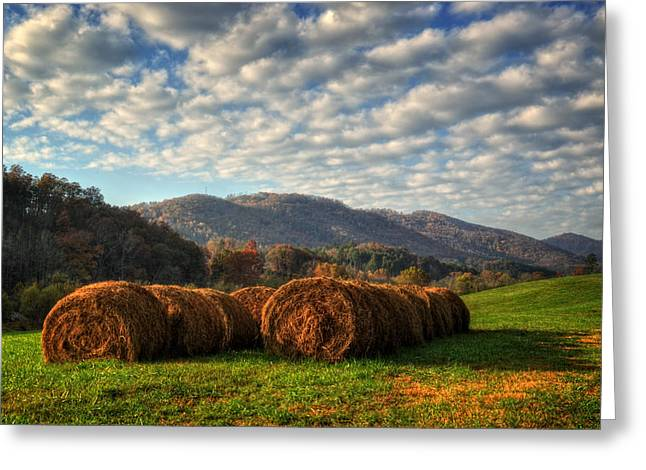 Western North Carolina Greeting Cards - Western North Carolina Hay Field Greeting Card by Greg and Chrystal Mimbs