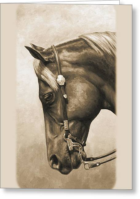 Quarter Horses Greeting Cards - Western Pleasure Horse Phone Case in Sepia Greeting Card by Crista Forest