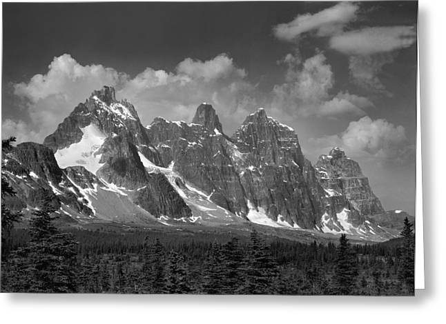 Moat Mountain Greeting Cards - Western Ramparts BW Greeting Card by Ed  Cooper Photography