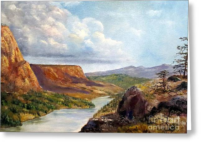 Lee Piper Art Greeting Cards - Western River Canyon Greeting Card by Lee Piper