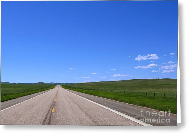 Roadway Photographs Greeting Cards - Western Road Greeting Card by Olivier Le Queinec