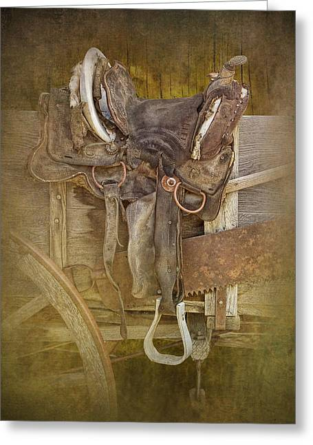 Classic Saddle Greeting Cards - Western Saddle Art Greeting Card by Randall Nyhof