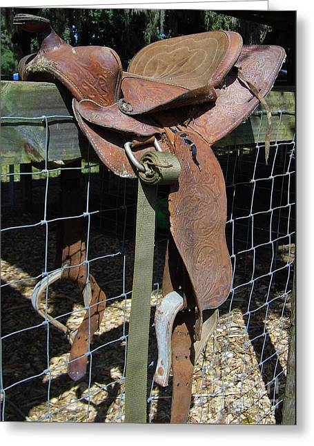 Old Barns Greeting Cards - Western Saddle Greeting Card by D Hackett