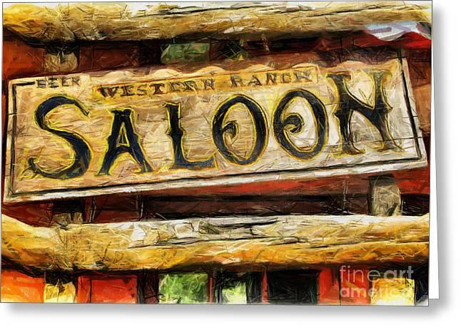 Saloons Drawings Greeting Cards - Western Saloon Sign - Drawing Greeting Card by Daliana Pacuraru