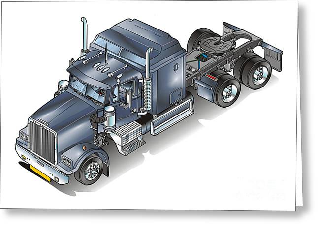 Truck Drawings Greeting Cards - Western star tuck Greeting Card by Christian Simonian