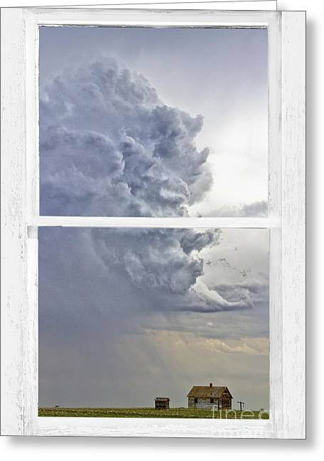 Storm Prints Photographs Greeting Cards - Western Storm Farmhouse Window Art View Greeting Card by James BO  Insogna