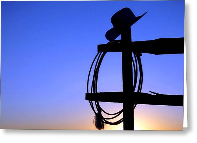 Old Hat Greeting Cards - Western Sunset Greeting Card by Olivier Le Queinec