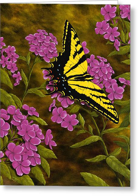 Phlox Greeting Cards - Western Tiger Swallowtail and Evening Phlox Greeting Card by Rick Bainbridge