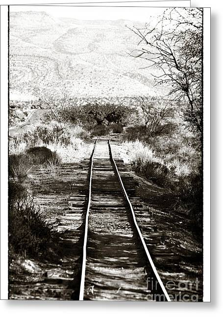 Black And White Train Track Prints Greeting Cards - Western Tracks Greeting Card by John Rizzuto