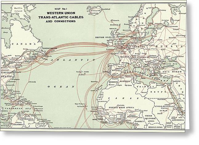 Western Union Transatlantic Cables Greeting Card by Library Of Congress, Geography And Map Division