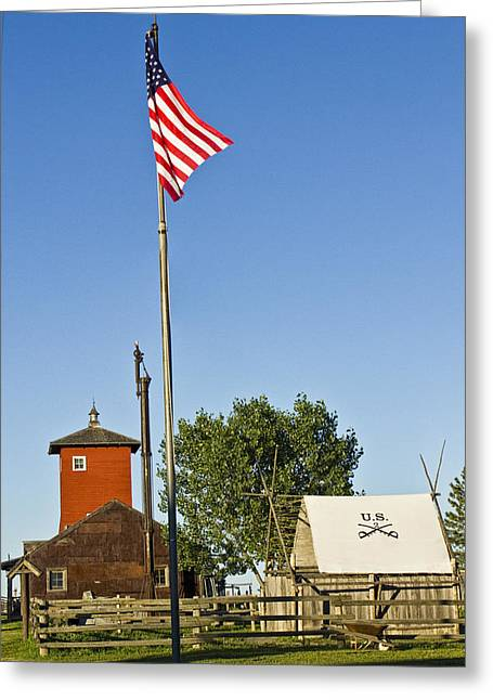 Calvary Greeting Cards - Western US Army Post at 1880s Town Greeting Card by Randall Nyhof