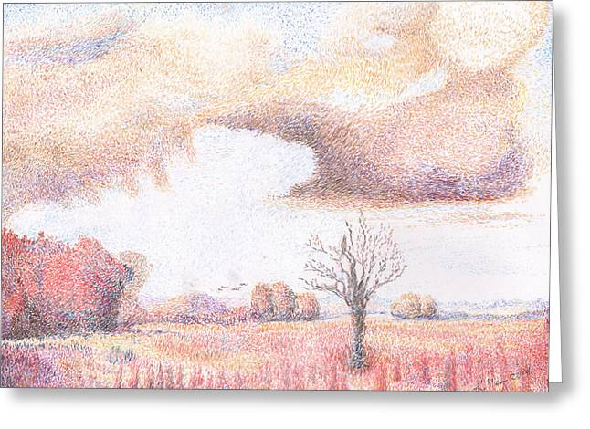 Fall Grass Drawings Greeting Cards - Western Vista - rain Greeting Card by William Killen