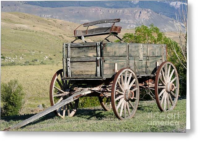 Western Wagon Greeting Card by Sabrina L Ryan