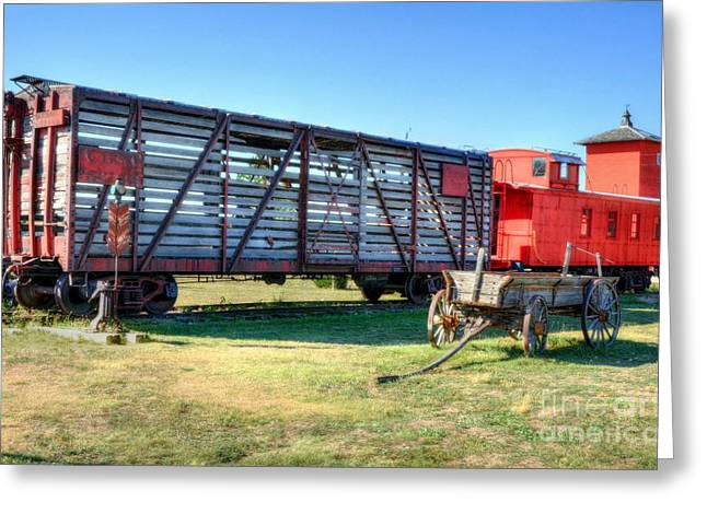 Red Caboose Greeting Cards - Western Wagon Train Greeting Card by Mel Steinhauer