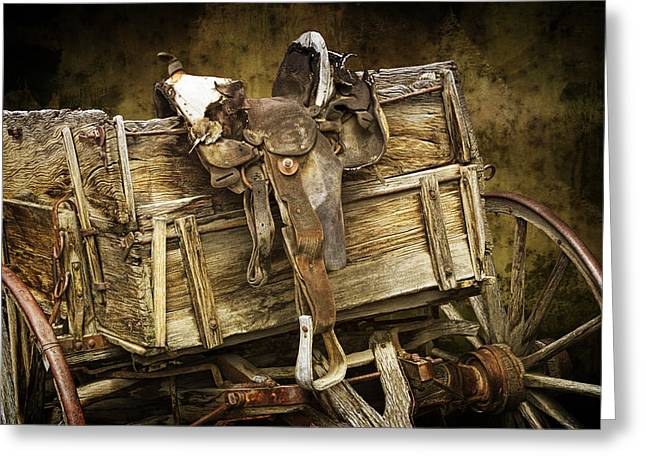 Randy Greeting Cards - Western Wagon with Saddle Greeting Card by Randall Nyhof