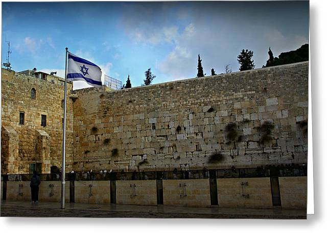 Synagogues Greeting Cards - Western Wall and Israeli Flag Greeting Card by Stephen Stookey