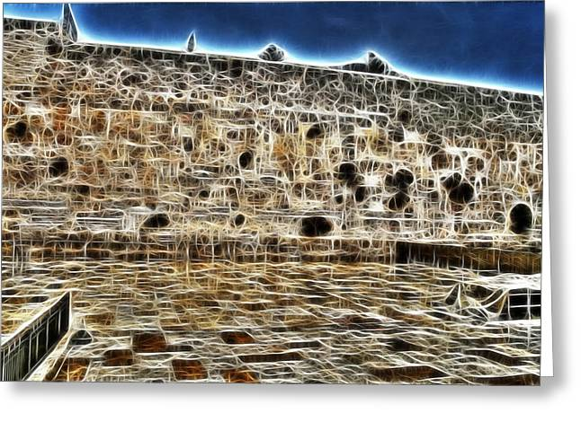 Old Western Photos Mixed Media Greeting Cards - Western Wall Greeting Card by Michael Braham