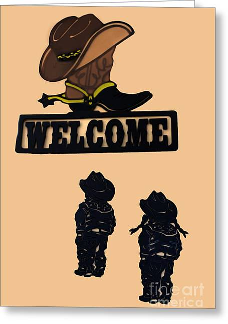 Painted Sculpture Greeting Cards - Western Welcome Greeting Card by Al Bourassa